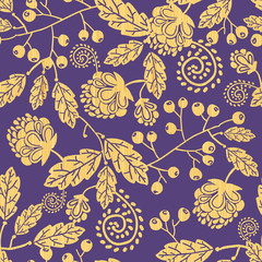 Vector wooden texture fall plants seamless pattern background