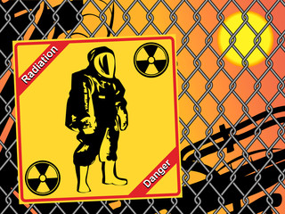 Radiation suit - sign radiation. Danger