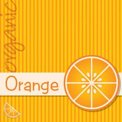 Bright organic orange card in vector format.
