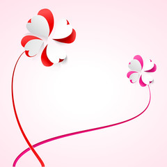 Vector background with flowers. Scarlet heart