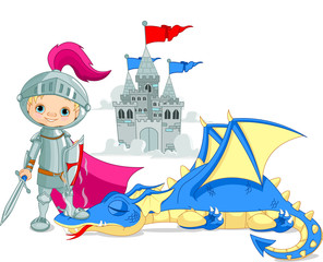 Garden Poster Knights Dragon and Knight