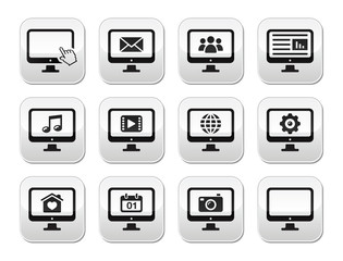 Computer screen modern grey buttons set