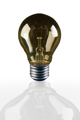 light bulb with shadow reflection on white