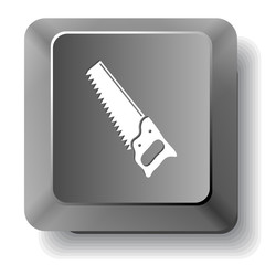 Hand saw. Vector computer key.