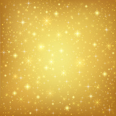 Abstract golden background with sparkling stars. Vector