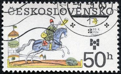 stamp printed in Czechoslovakia shows a rider on a horse