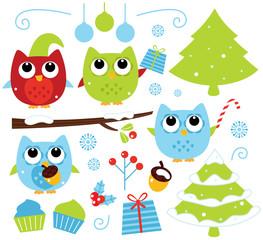 Christmas cartoon owls and decoration set isolated on white