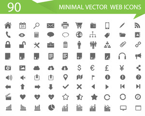 90 Minimal vector web icons