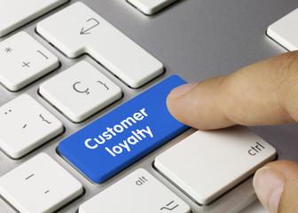 Customer loyalty keyboard key. Finger