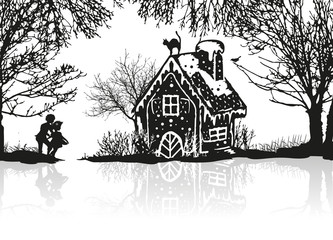 Hänsel und Gretel entdecken das Hexenhaus im Wald