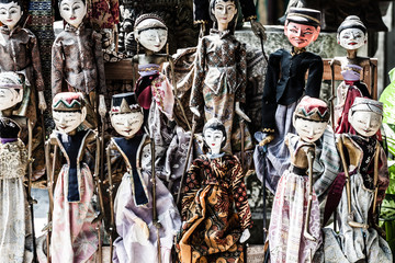 Traditional puppets made of wood.
