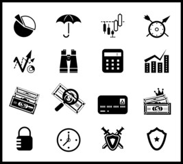 Finance protection icon set
