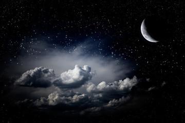 Night sky clouds stars
