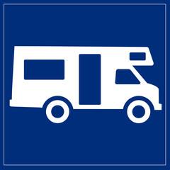Papier Peint - Schild blau - Wohnmobil