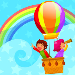 Poster Rainbow kids flying in a hot air balloon