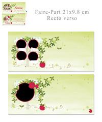 """Faire-Part """"A croquer"""" 21x9.8 cm recto-verso"""
