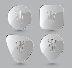 Crutches. Glass buttons. Vector illustration.