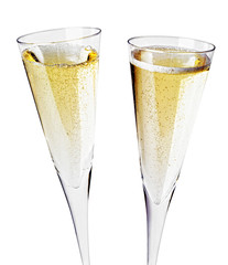 Two champagne glasses, close up