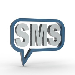 3d Icon SMS silber