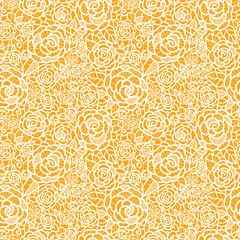Vector golden lace roses seamless pattern background with hand