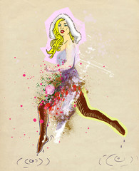 Vintage theme: Jumping bunny girl