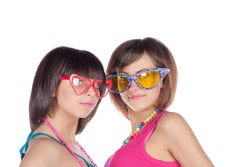 funny girls in glasses on white