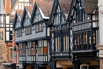 Chester, England, black and white building Fotomurales