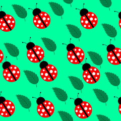 Seamless background with leaves and ladybug