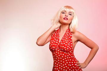 young beautiful caucasian woman posing retro
