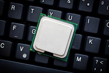 computer processor on computer keyboard