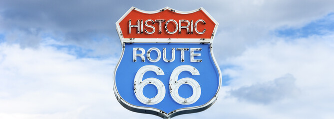 Papiers peints Route 66 Panoramic view of famous route 66 sign