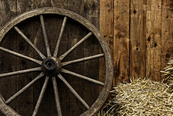 Vintage wooden carriage wheel