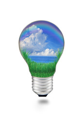 blue water with blue sky white clouds in light bulb