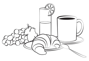 Breakfast composition isolated on white