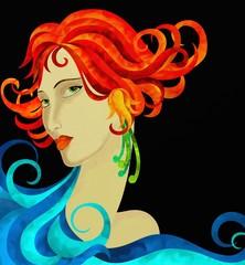 viso di donna con capelli rossi