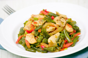 Fresh Green Beans Cooked with chicken and vegetables