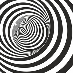 A black and white relief tunnel. Optical illusion