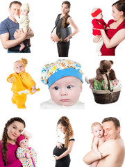 Collage of different photos of babies and father, mother.