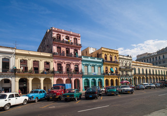 Foto op Canvas Havana Karibik Kuba Havanna Gebäude an der Hauptstrasse