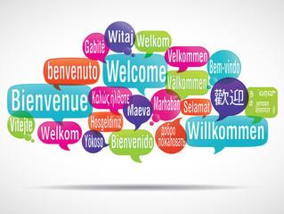 nuage de mots bulles : bienvenue traduction