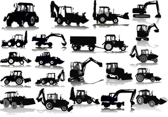Set of 21 silhouettes of a tractors of road service