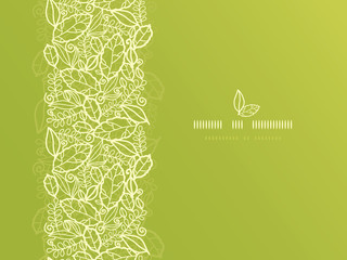 Vector green lace leaves vertical seamless pattern background