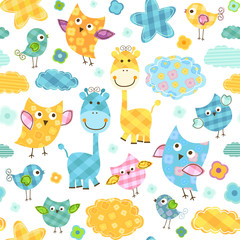 Poster de jardin Oiseaux, Abeilles cute birds & giraffes seamless pattern