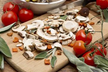 mixed mushrooms and tomatoes