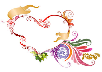 Floral heart vector illustration in EPS 10 format