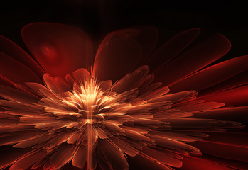 Wall Mural - Red abstract flower fractal