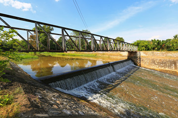 River dam diverting water for farmland irrigation purposes
