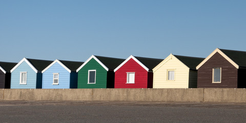 Colorful Beach Huts at Southwold, Suffolk, UK