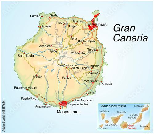Kanaren Inseln Karte.Landkarte Von Gran Canaria Kanarische Inseln Stockfotos Und