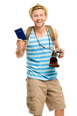 Happy tourist holding passport retro camera isolated on white